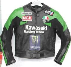 Men Black Green Kawasaki Team Racing Motorcycle Leather Jacket with Speed hump - Multi-Color - Leather - Regular 3XL - Brought to you by Avarsha.com