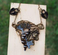 Something Old Necklace Wire Wrap Horse Vintage Key Pin Stud Mix Metal Lock Art #Jeanninehandmade #Pendant