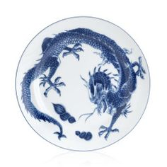 Mottahedeh - Blue Dragon Dinner Plate.Get in-depth info on the Chinese Zodiac Sign of Dragon @ http://www.buildingbeautifulsouls.com/zodiac-signs/funny-horoscopes/funny-chinese-zodiac/enter-year-dragon/