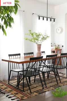 60 Creative Rustic Dining Room Design Ideas - Barhloew news Farmhouse Dining Room Table, Dining Room Table Decor, Dining Room Design, Room Chairs, Dining Chairs, Salons Cosy, Dining Room Inspiration, Interiores Design, Diy Home Decor