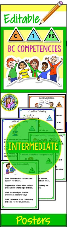 A great teaching resource! Cute and cheerful BC Core Competency posters, to display in your classroom! For Intermediate Students, grades 4-6. Aligns with new BC Curriculum.