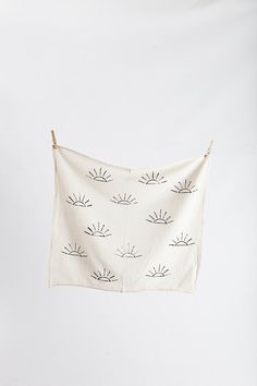 Block printed tea towel - unbleached flour sack cotton - black and peach  - sun print