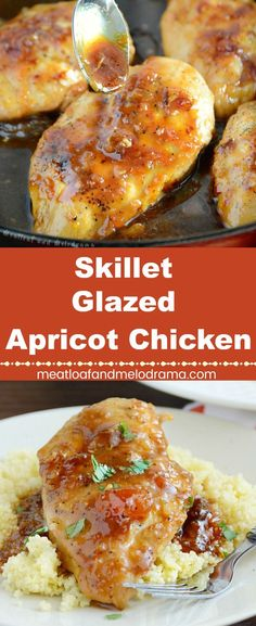 Skillet Glazed Apricot Chicken - An easy dinner of chicken breasts smothered in a sweet, tangy apricot sauce. Ready in 30 minutes or less! Meatloaf and Melodrama