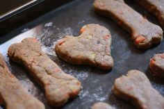 Carrot & Banana Natural Dog Treat Recipe - Also did the apple one (seperate link on their website) Toby and every other dog friend that tried them LOVED them (I substitued wheat flower for plain white flour non rising and skipped the brown sugar)