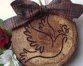 wood dove Christmas tree ornament -  I like the dove design.