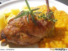 Marinovaný králík s dýňovým zelím Steak, Food And Drink, Pork, Treats, Chicken, Cooking, Health, Recipes, Drinks