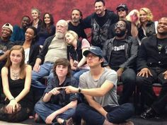 Old and current cast watching TWD. Wow I barely recognized Sophia (next to Carl) <<< This is the cutest