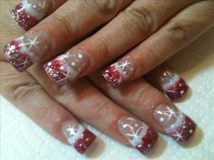 christmas nail images | christmas red n white nails image