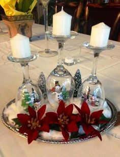 Cute Wineglass and Candle Centerpiece