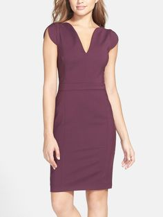 Stylish and perfect for the office. In love with this plum stretch sheath dress.