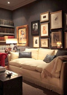 Breaking Design Rules: Dark Walls in Small Rooms Let's tackle dark small rooms. I really didn't intend for it to sound scary. Let's tackle bold dark walls in small rooms. Living Room Decor, Living Spaces, Living Rooms, Snug Room, Dark Walls, Brown Walls, Grey Walls, Dark Interiors, Small Rooms