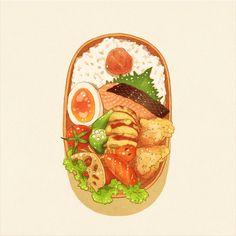 k_hamsin - pixiv Anime Bento, Cute Food Art, Cute Food Drawings, Food Cartoon, Watercolor Food, Bento Recipes, Food Wallpaper, Food Illustrations, Aesthetic Food
