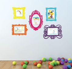 Frame Decals- Wall Decal Set of 5 Frames - Playroom Decor - Bedroom Wall Decal - Childrens Wall Decals Playroom Vinyl Wall Decals. $50.00, via Etsy.