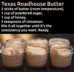 Make and share this Texas Roadhouse Butter recipe from Genius Kitchen. Make and share this Texas Roadhouse Butter recipe from Genius Kitchen. Texas Roadhouse Butter, Texas Roadhouse Steak Seasoning, Texas Roadhouse Recipes, Texas Roadhouse Sweet Potato Recipe, Texas Roadhouse Cinnamon Honey Butter Recipe, Copy Cat Texas Roadhouse, Think Food, Love Food, Bon Dessert