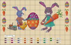 Para celebrar la Pascua os regalamos estos diagramas de punto de cruz para que bordéis en las vacaciones de semana santa. Son diagramas para todos los niveles, El que sea principiante puede empezar con una zanahoria pequeña y los que tengan más experiencia pueden bordar figuras más grandes con más colores.