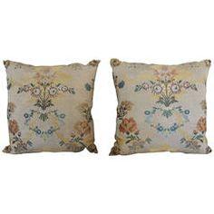 Pair of Silk Brocade Floral Blue Pillows