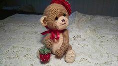 Artist collectible thread crochet teddy bear by SweetHeartThreads