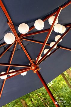 A String Of Solar Lanterns, Threaded Over The Spokes In The Market Umbrella  And Pushed. Solar LanternsSolar LightsPatio ...