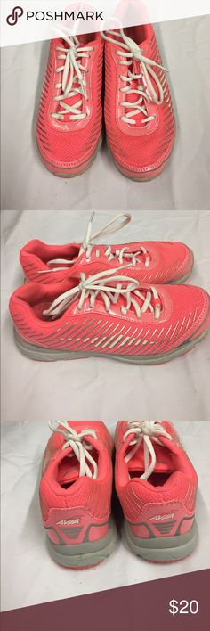 Avia Fitness Sneakers. Pink with Gray Stripes and White Laces. Lite signs of wear on shoes. Bottoms are in good condition with much grip. Fabric upper. Balance man Made Material. Avia Shoes Sneakers