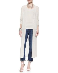 Washable Linen Crepe Maxi Cardigan, Long Silk Cami & Organic Soft Stretch Skinny Jeans, Women\'s by Eileen Fisher at Neiman Marcus.