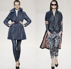 (04a) A Crotch Jetler Coat and Lynn Zip Skinny Denim Jeans - (04b) Avity XL Loose Bomber, Tailor Contour Denim Jacket, Chardel Blazer and Avity Radar Loose Tapered Pants - G-Star RAW 2014-2015 Fall Autumn Winter Womens Runway Looks - Catwalk Fashion Show - Dark Denim Jeans Outerwear Trench Coat Bomber Jacket Varsity Jacket Shorts Jorts Skort Motorcycle Biker Rider Gilet Skinny Blazer Tapered Wide Leg Palazzo Pants Stockings Topcoat Overcoat Zipper Carrot Cigarette Sleek Leggings Jogging ...