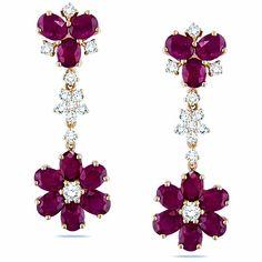 Dangle Earrings, Diamond Earrings, Pink Gemstones, Pink And Gold, Rose Gold, Pink Sapphire, Gemstone Jewelry, Diamond Cuts, Jewelery