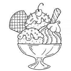 ice cream sundae clipart black and white - Google Search