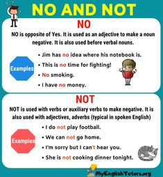 NO vs NOT! In this lesson, you will learn the differences between NO vs NOT in English through examples and picture. English Grammar For Kids, English Grammar Rules, English Sentences, English Vocabulary Words, English Language Learning, English Writing, English Study, Teaching English, Grammar Tips
