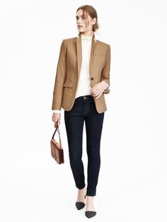 For women, banana republic outfits, camel blazer, beige blazer, business at Brown Jacket Outfit, Beige Blazer Outfit, Camel Blazer, Banana Republic Outfits, Blazer Outfits For Women, Blazers For Women, Casual Outfits, Womens Fashion For Work, Beige Blazer