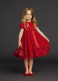 Little daisy in her chick red dress Baby Girl Dress Design, Baby Girl Dress Patterns, Baby Clothes Patterns, Baby Dress, Kids Party Frocks, Party Wear Frocks, Little Girl Dresses, Girls Dresses, Flower Girl Dresses