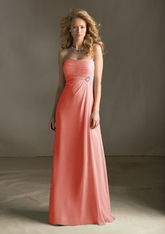 686 Chiffon Mori Lee, if I was going to go long bridesmaid dresses, it would be along these lines .