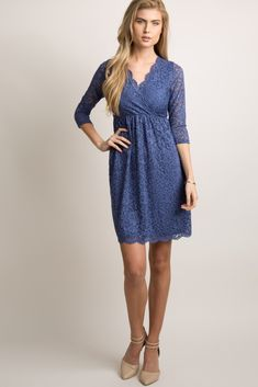 2e08d635b9 Navy Blue Lace Overlay Wrap Dress