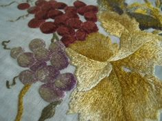 Fabulous Large Antique Society Silk Victorian Hand Embroidered Tablecloth Center