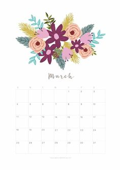 """Here is the free printable March 2018 calendar and monthly planner with lovely floral designs for you to download! ( Personal use only, enjoy!) To download the March 2018 calendar and monthly planner, click on image below to bring up the high resolution image,and right click """"save"""" to save the full size image to print....Read More"""