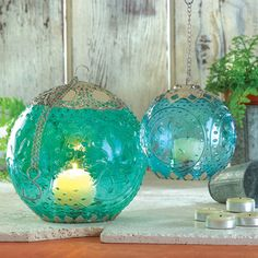 Small Aquamarine Globe Lantern | Overstock™ Shopping - The Best Prices on Candles & Holders