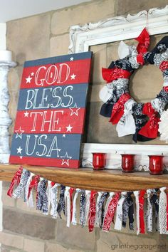 of July mantel home decor ideas. Red, white, and blue of July mantel - Girl in the Garage Fourth Of July Decor, 4th Of July Celebration, 4th Of July Decorations, 4th Of July Party, July 4th, Memorial Day Decorations, 4th Of July Wreaths, 4th Of July Ideas, 4th Of July Photos