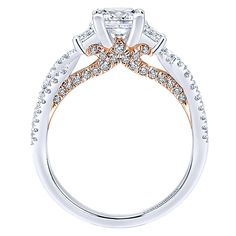 ❤️❤️❤️❤️❤️❤️ Love the rose gold embellishment, this ring is pretty damn near perfect. I'd like a band without the diamonds in it. Gabriel - 14k White/pink Gold Blush Engagement Ring