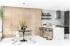 35+ Amazing Kitchen Dining Room Combo Photos – The Plumed Nest Kitchen Dining Combo, All White Kitchen, Farmhouse Style Kitchen, Living Room Kitchen, Kitchen Ideas, Kitchen Modern, Open Kitchen, Kitchen Inspiration, Narrow Living Room