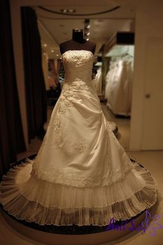 www.balllily.com $339 Bust Beaded Pleated Organza A line Cathedral Wedding Dress WDRL093