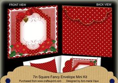 Red Poinsettia Christmas 7x7inch Easy Envelope Mini Kit on Craftsuprint - Add To Basket!