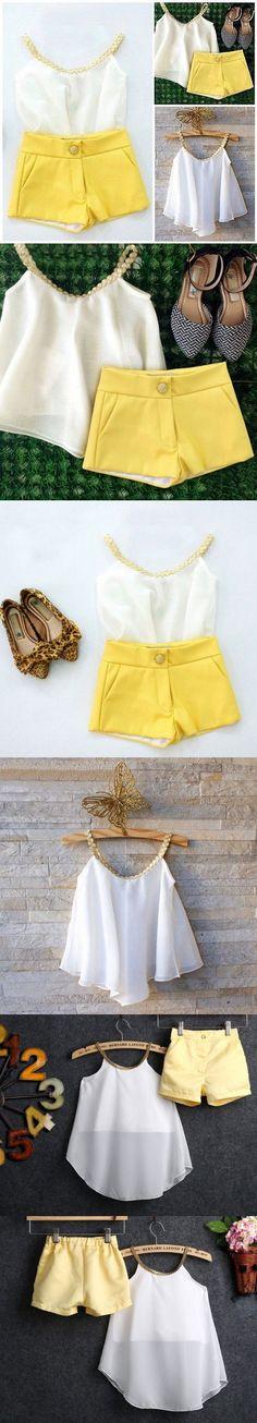 2016 cute new style Chiffon Girls Baby Kids Sun Top Shirt Hot Pants Shorts Summer Outfits Clothes
