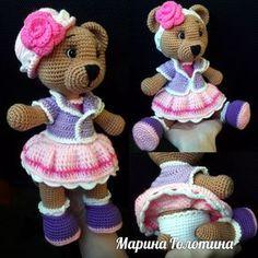 PDF Медведица Настенька. Бесплатный мастер-класс, схема и описание для вязания игрушки амигуруми крючком. Вяжем игрушки своими руками! FREE amigurumi pattern. #амигуруми #amigurumi #схема #описание #мк #pattern #вязание #crochet #knitting #toy #handmade #поделки #pdf #рукоделие #мишка #медвежонок #медведь #медведица #bear #teddybear #teddy