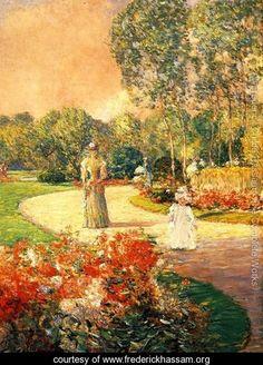 """Frederick Childe Hassam:  """"Parc Monceau, Paris"""""""