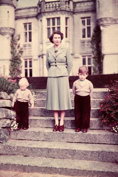 The Queen with Prince Charles and Princess Anne at Balmoral