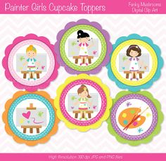 Digital Clipart - Painter Girls Cupcake Toppers printable for scrapbooking invitations cards making commercial use - INSTANT DOWNLOAD