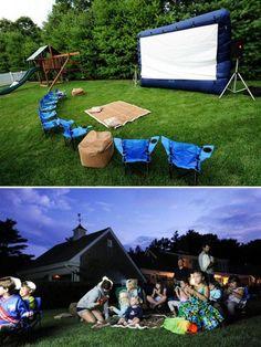 Backyard movie night camping style!