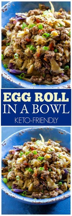 in a Bowl This Egg Roll in a Bowl comes together in 15 minutes and is packed with protein and flavor. the-girl-who-ate-This Egg Roll in a Bowl comes together in 15 minutes and is packed with protein and flavor. the-girl-who-ate- Low Carb Recipes, Beef Recipes, Cooking Recipes, Healthy Recipes, Protein Recipes, Snacks Recipes, Top Recipes, Ketogenic Recipes, Pumpkin Recipes