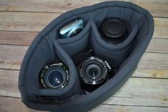 Camera Bag DSLR / Smoke Grey Water resistant fabric, foam padded insert, men or women, for purse, backpack Darby Mack - in STOCK!
