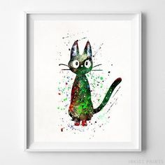 Cat Jiji, Kikis Delivery Service Print-Poster-Wall_Art-Home_Decor-Inkist_Prints Kiki Delivery, Kiki's Delivery Service, Watercolor Artwork, Watercolor Print, Hayao Miyazaki, Illustrations, Free Prints, Cat Art, Bedroom Decor