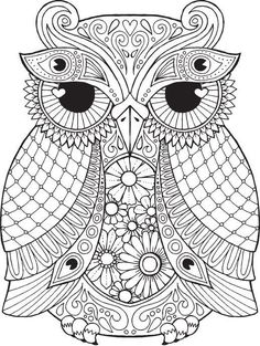 OWL Coloring Pages for Adults. Free Detailed Owl Coloring Pages Owl Coloring Pages, Coloring Pages For Grown Ups, Mandala Coloring Pages, Printable Coloring Pages, Coloring Sheets, Coloring Books, Mandalas Drawing, Mandala Art, Zentangles